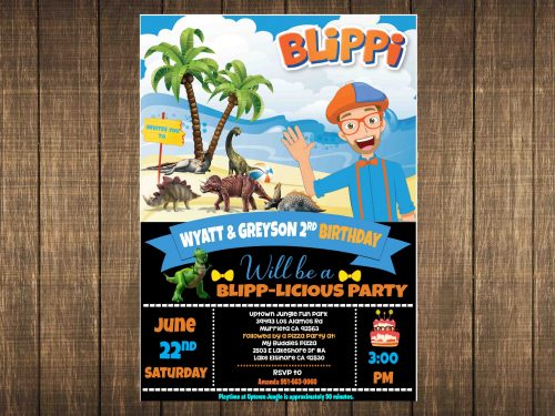 Blippi Invitation Dinosaurs