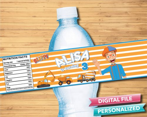 Blippi Water Bottle Label